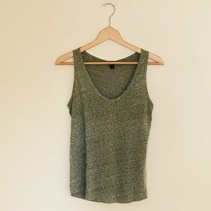 J. Crew Heathered Green Crew Neck Sleeveless Tank